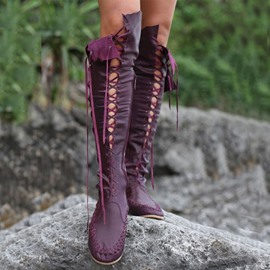 Ericdress Unique lacets bottes Knee High