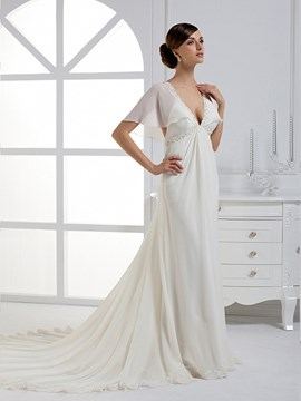 Special A-line/Princess V-neck Chapel Train Wedding Dress