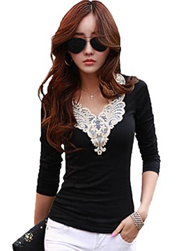 Ericdress Lace Patchwork V-Neck Long Sleeve T-Shirt