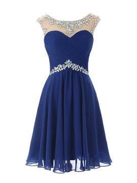 Ericdress Cap manches a-ligne Scoop cou Beadings court Homecoming robe