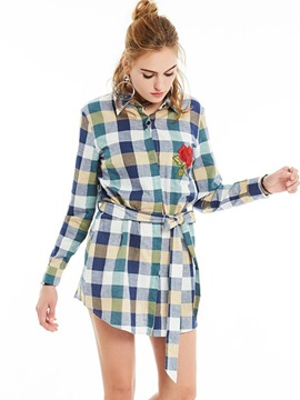 Ericdress Casual Plaid Embriodery Blouse