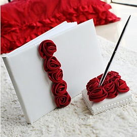 Bold Red Luxury Rose Lined Wedding Guest Book and Pen Set