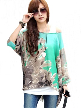 Ericdress Printed Slash Loose Blouse
