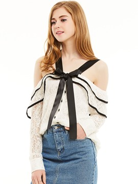 Ericdress Off-Shoulder Lace-Up Bowknot Lace Blouse