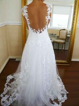Ericdress Backless Appliques Cap Sleeves Wedding Dress