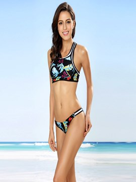 Ericdress Charming Plant Print High-Neck Bikini Set