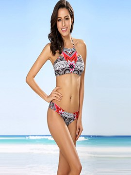 Ericdress Color Block Vintage Print High-Neck Bikini Set