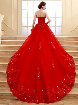 Ericdress Strapless Beading Cathedral Train Red Wedding Dress