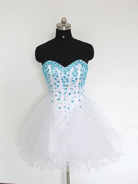 Ericdress a-ligne Sweetheart Mini Crystal Lace-Up Homecoming robe