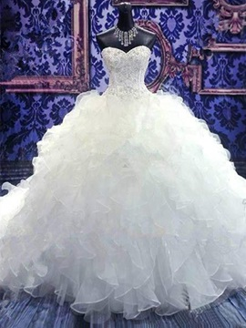 Ball Gown Sweetheart Wedding Dress With Beadings