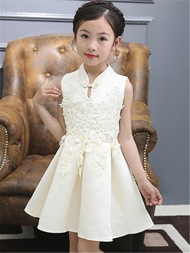 Ericdress Mandarin Collar Patchwork Handicap Pleated Girls Dress