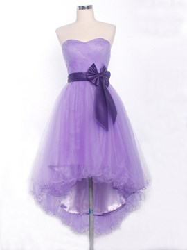 Faddish A-Line High-Low Length Bowknot Homecoming Dress