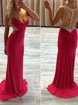 Ericdress Sheath V-Neck Beading Crystal Sweep Train Prom Dress