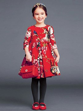 Ericdress Print 3/4 Sleeve Girls Dress