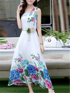 Ericdress Beach Print Long Maxi Dress