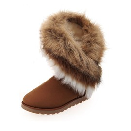 Popular Faux Furry Flat Heel Women Snow Boots