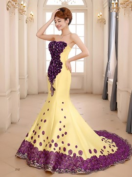 Superb Sweep Train Appliques Mermaid Evening Dress