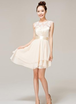 Pretty A-Line Jewel Lace Bridesmaid Dress