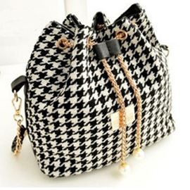 Ericdress Houndstooth Pattern Bucket Handbag