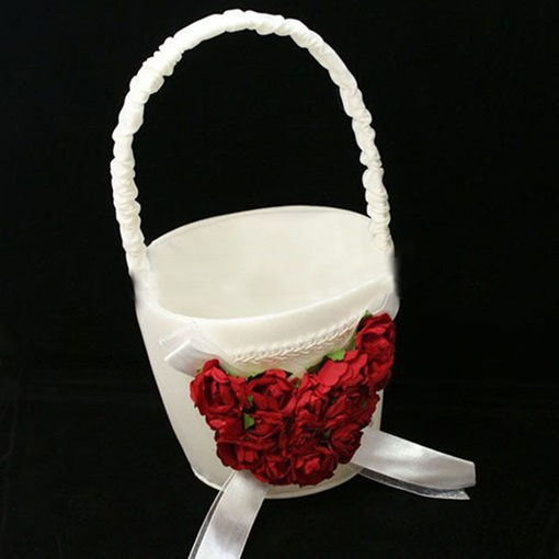 Classic White Flower Basket in Satin