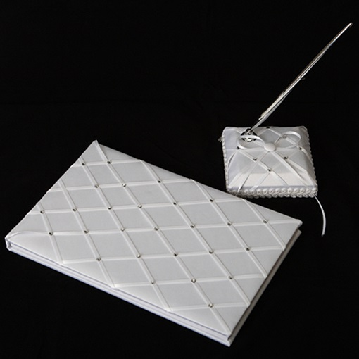 Check Wedding Guest Book and Pen Set With Rhinestones
