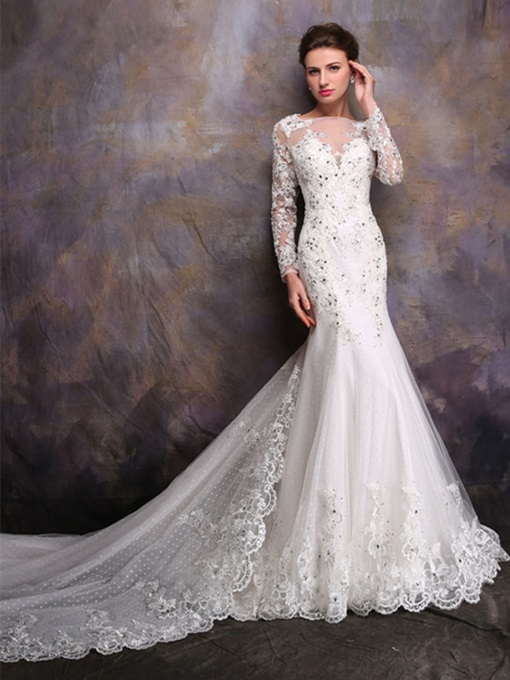 Ericdress Appliques Watteau Train Long Sleeves Wedding Dress