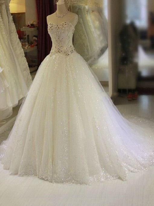 Ericdress Sweetheart Sequins Appliques Wedding Dress