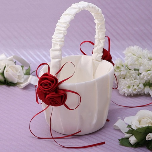 Classic White Flower Basket in Satin With Bow