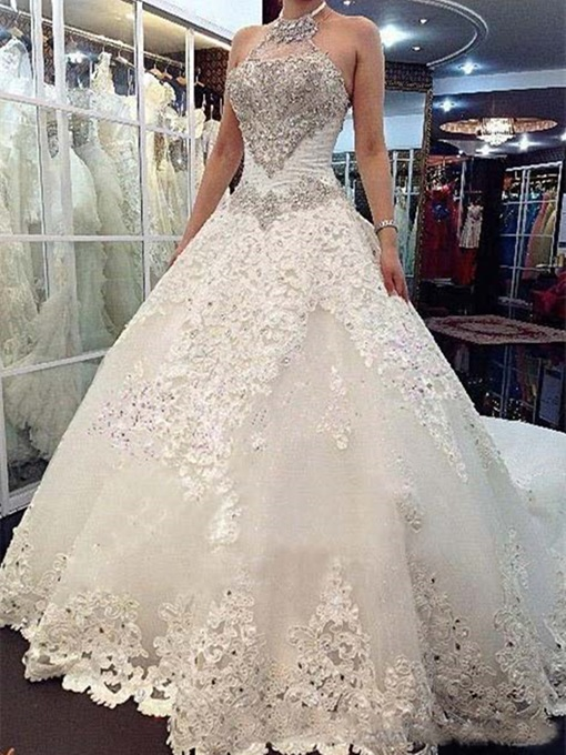 Ericdress Halter Appliques Beaded Cathedral Train Wedding Dress