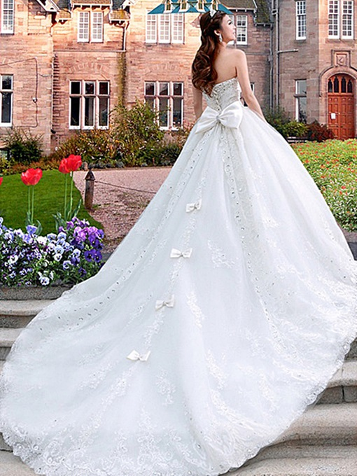 Ericdress Beading Sweetheart Appliques Cathedral Train Wedding Dress