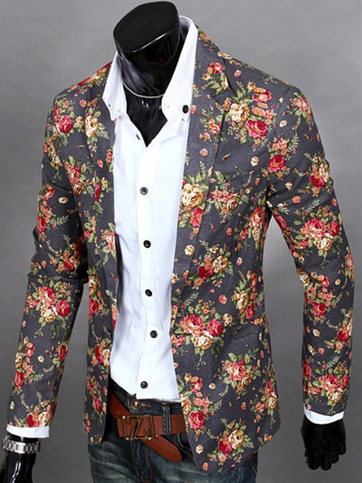 Ericdress Notched Lapel Floral Print Vogue Casual Men's Blazer