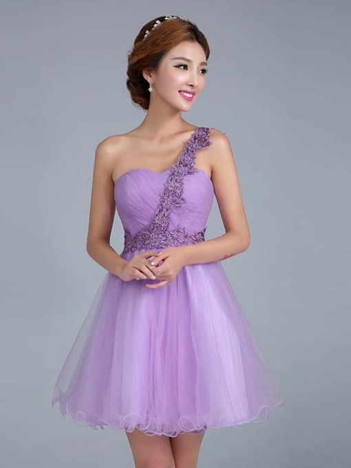 Simple One Shoulder Lace Bridesmaid Dress