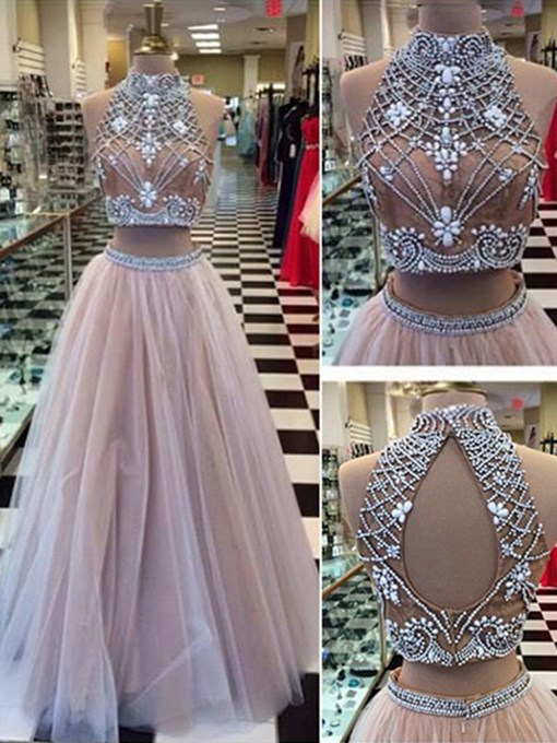 Ericdress A-Line Two Pieces Backless Long Prom Dress With Beadings