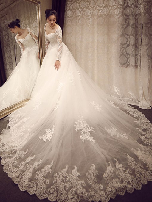 Ericdress Ball Gown Appliques Button Long Sleeves Wedding Dress