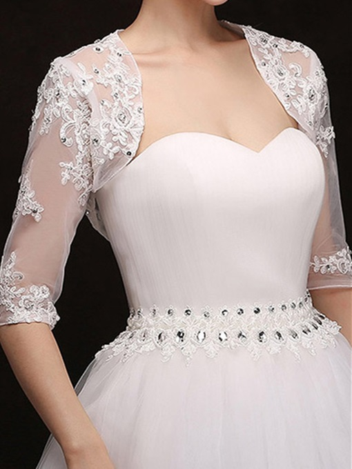 High Quality Appliques Beaded Half Sleeves Tulle Wedding Jacket