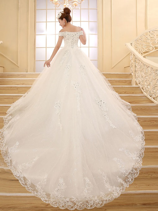 Ericdress Off the Shoulder Beading Appliques Cathedral Train Wedding Dress