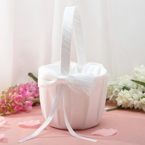 Pure White Flower Basket in Satin With Bow