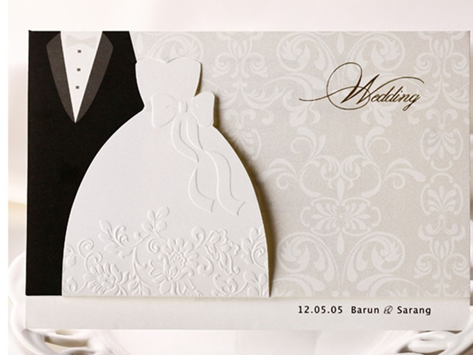 Bride & Groom Side Fold Invitation Cards (20 Pieces One Set)