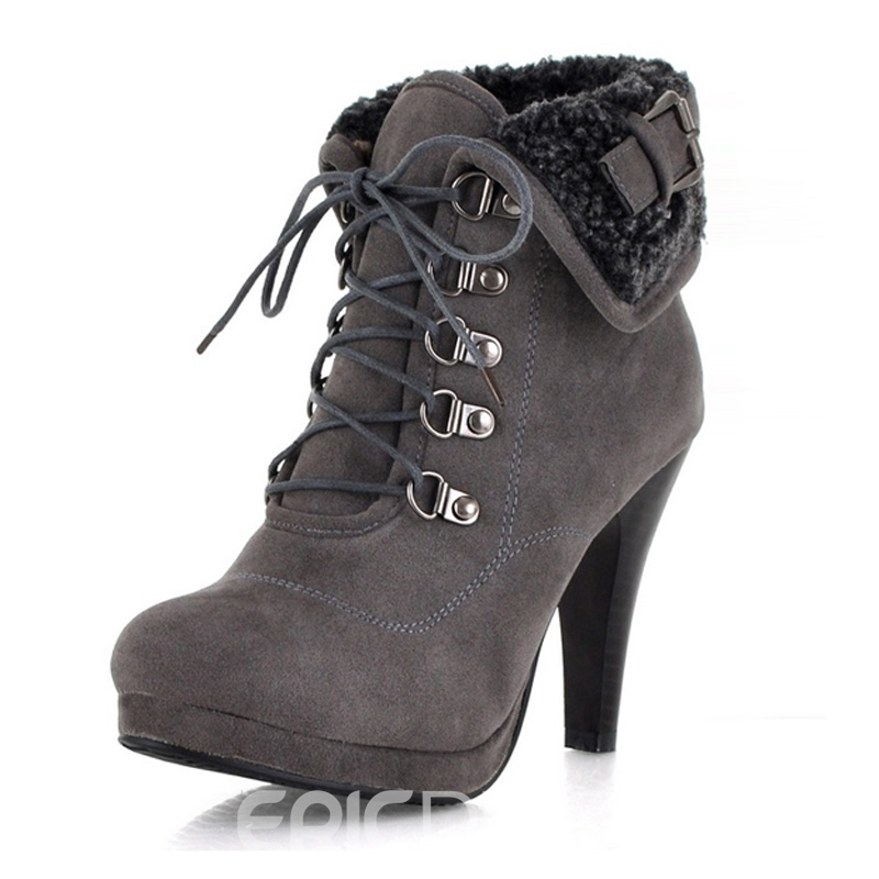 Pretty Lace-up With Buckle Stiletto Heel Short Boots