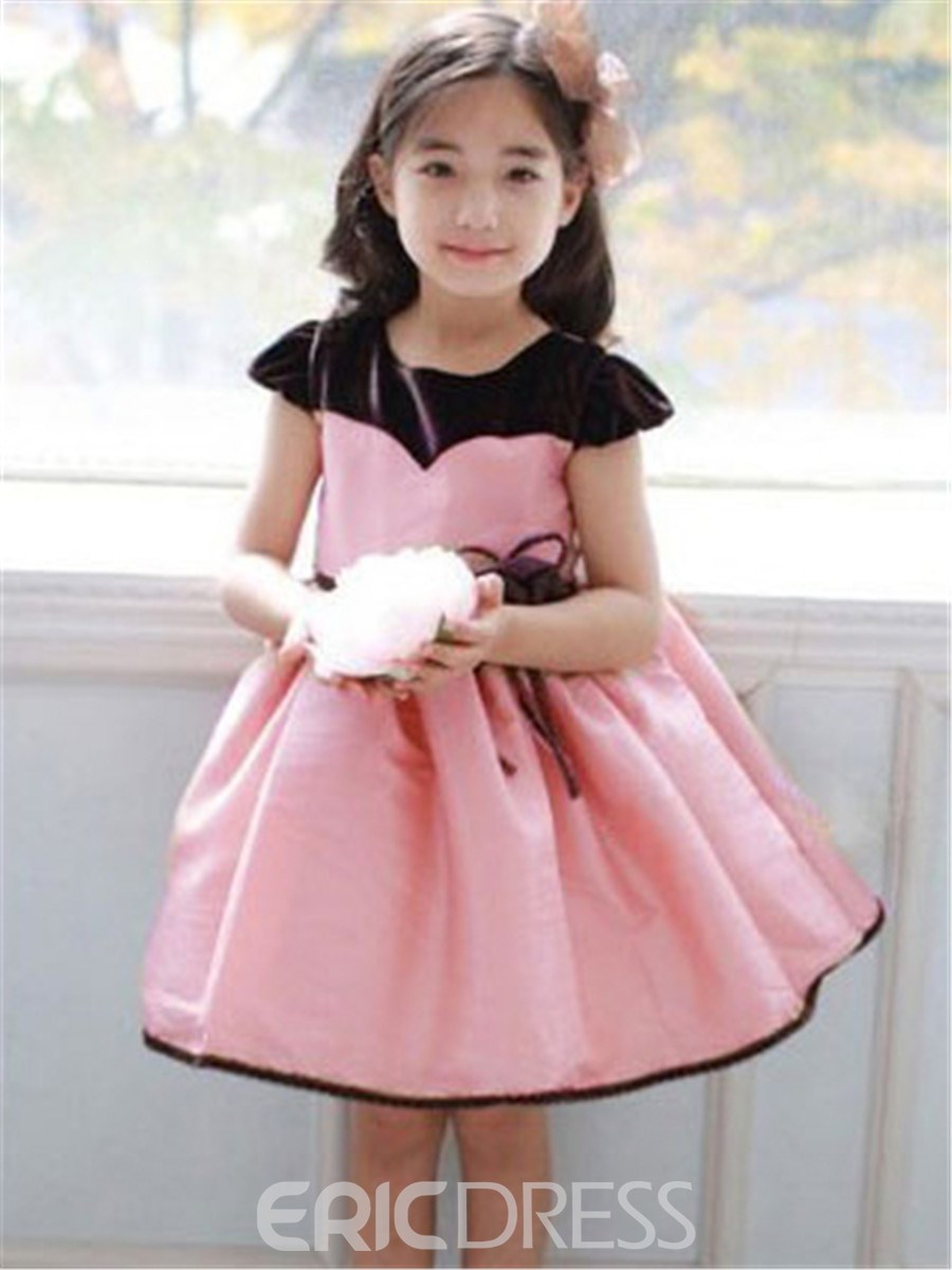 Ericdress Pink Patchwork Ladylike Girls Dress 11331039