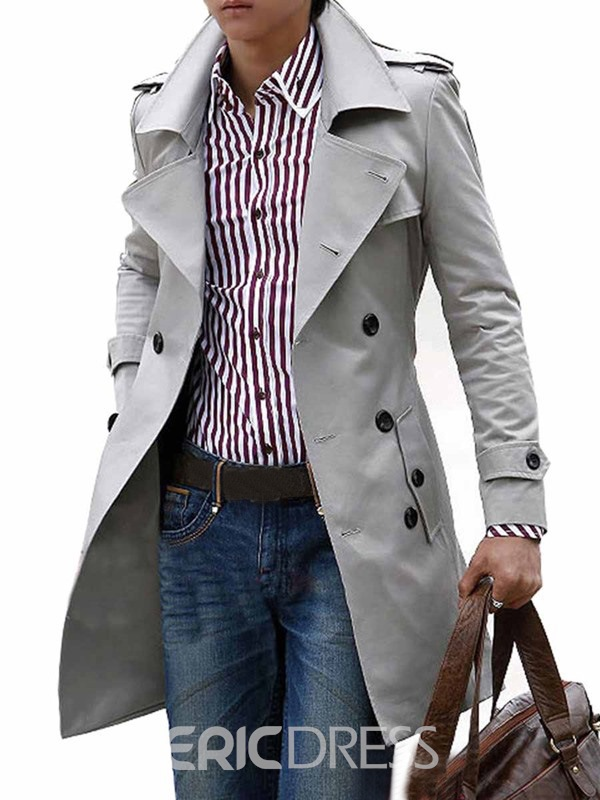Ericdress Plain Long Slim Double-breasted Mens Trench Coat