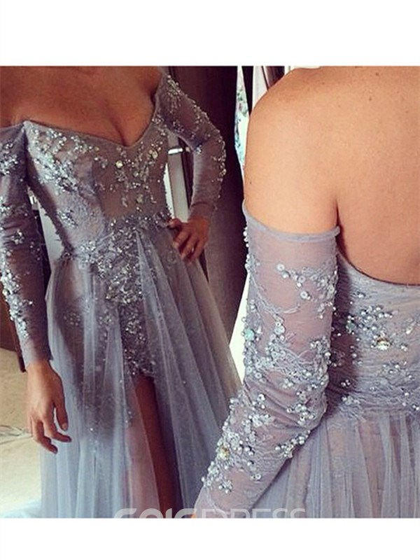 Ericdress Sheath Off-the-Shoulder Asymmetry Evening Dress With Appliques And Beadings