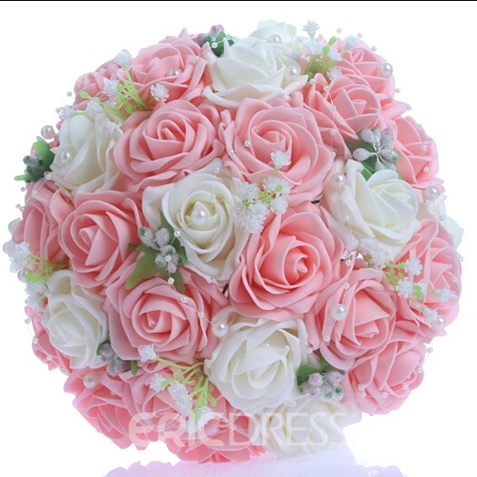 Best Lace Pearl Pink/White Rose Starry Sky Wedding Bouquet