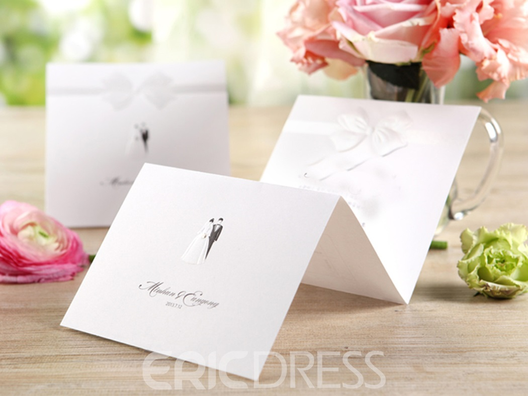 Bride & Groom Z-Fold Invitation Cards With Ribbons (20 Pieces One Set)