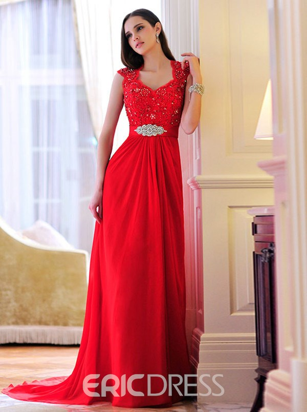Charming A-Line Straps Appliques Evening Dress