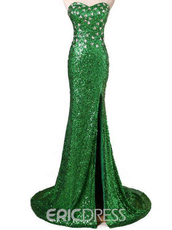 Ericdress Sweetheart Side-Spllit Sequins Evening Dress