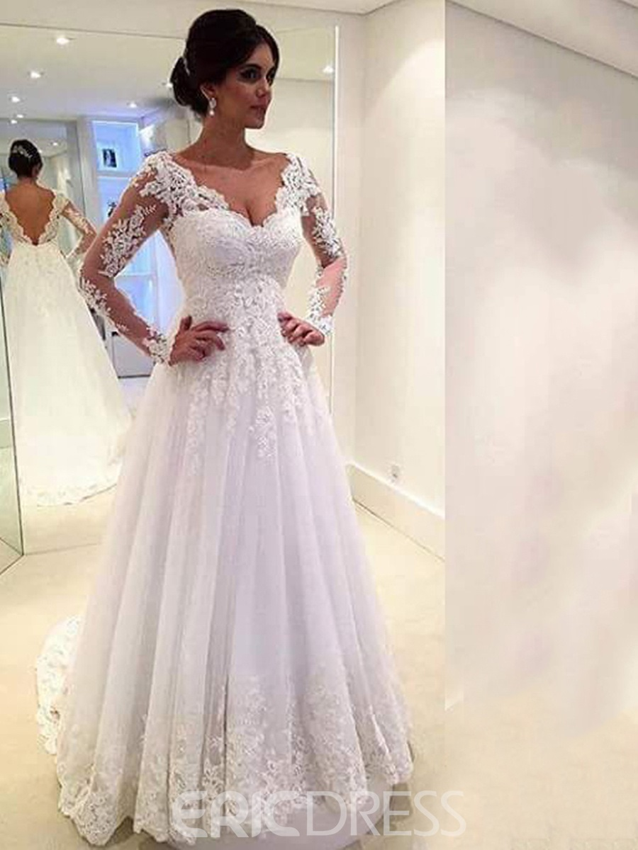 Plus size dresses for wedding cheap bridal gowns ericdress ericdress long sleeves a line wedding dress junglespirit Image collections