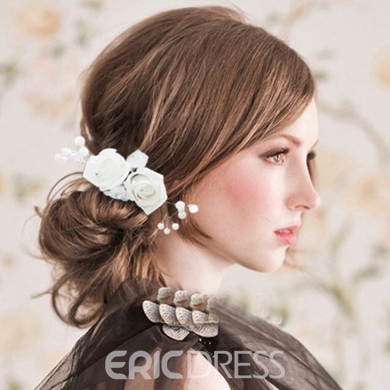Beautiful Pearls White Bridal Headdress Flower