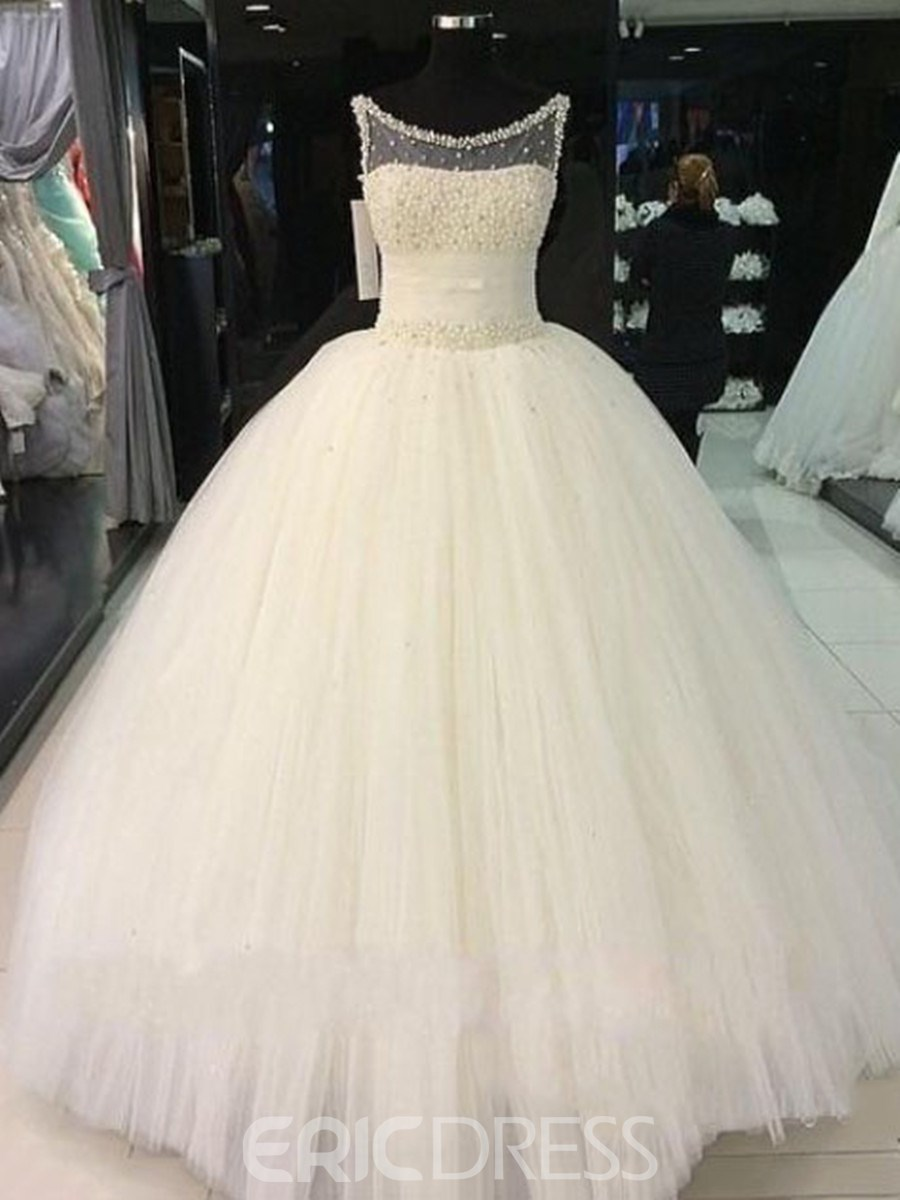 Ericdress Charming Scoop Beading Ball Gown Wedding Dress