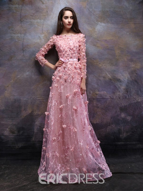 Ericdress A-Line Long Sleeves Bateau Lace Evening Dress With Appliques And Beading